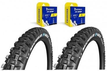 Lot Michelin EBIKE - 2 pneus E-Wild Gum-X 27.5X2.60 (Front+Rear) + 2 chambres Airstop B6 27,5+ x 2.4-3.0 Presta 40mm