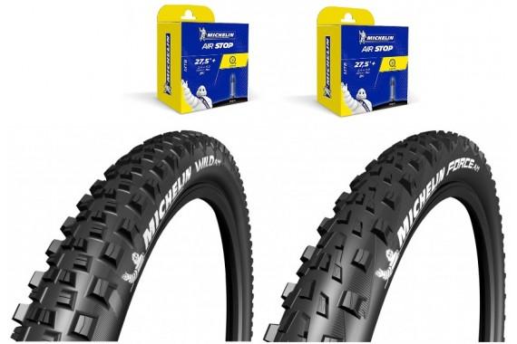 Lot Michelin - Wild AM 27.5X2.35 + Force AM 27.5X2.35 + 2 CAA 27,5X1.9-2.6
