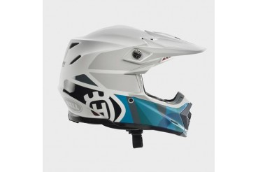Moto 9 Flex Railed Helmet White & Blue | HUSQVARNA